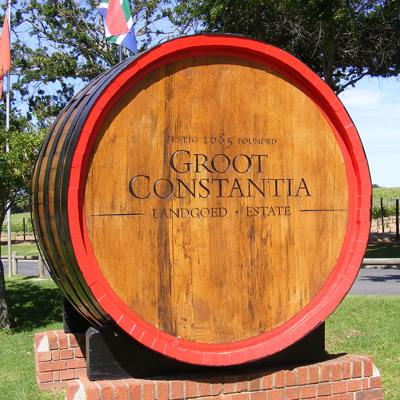 Groot Constantia barrel sign, by the Sign Carver
