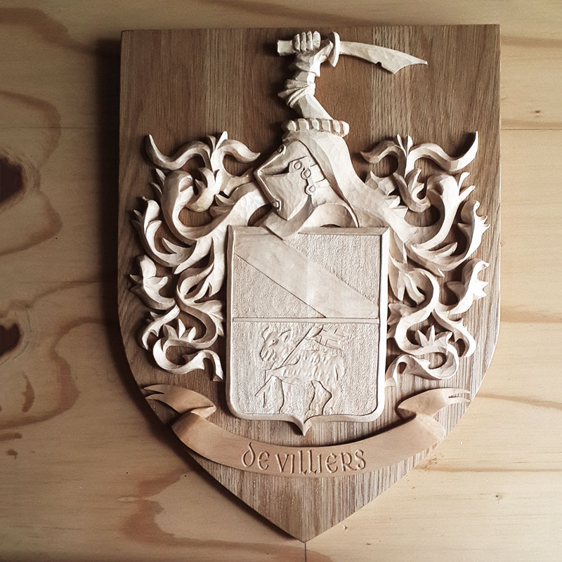 De Villiers Family Crest | Family Heraldry custom carved by the Sign Carver
