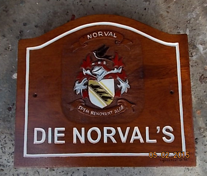 Die Norval's Coat of Arms hand carved by the Sign Carver