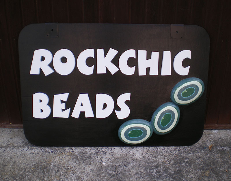 Rockchic Beads | Carved Wooden Shop Sign